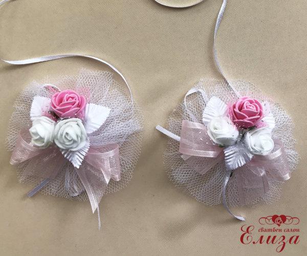 Сватбена украса за ритуални свещи и чаши в розово и бяло N5